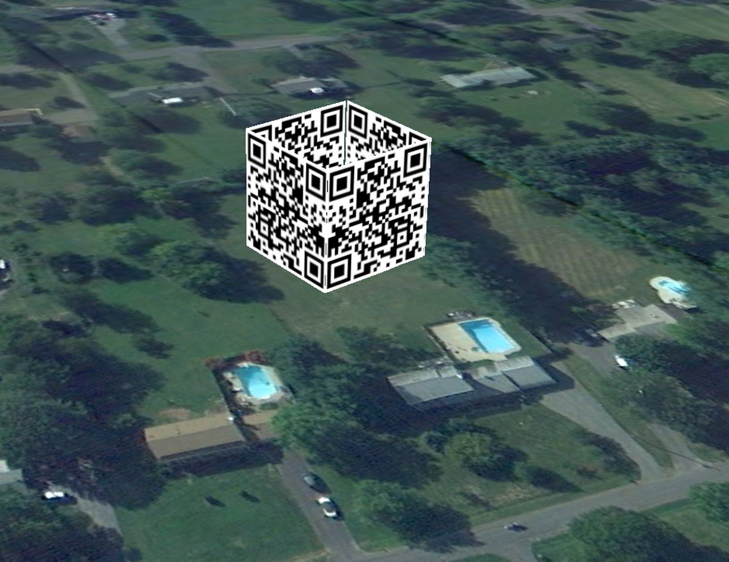 - Here, the QR cube is sitting on the lawn behind my house. -  - Art and the Zen of QR Codes - QaRt - making art from QR codes. - - art  - photography - by Tony Karp