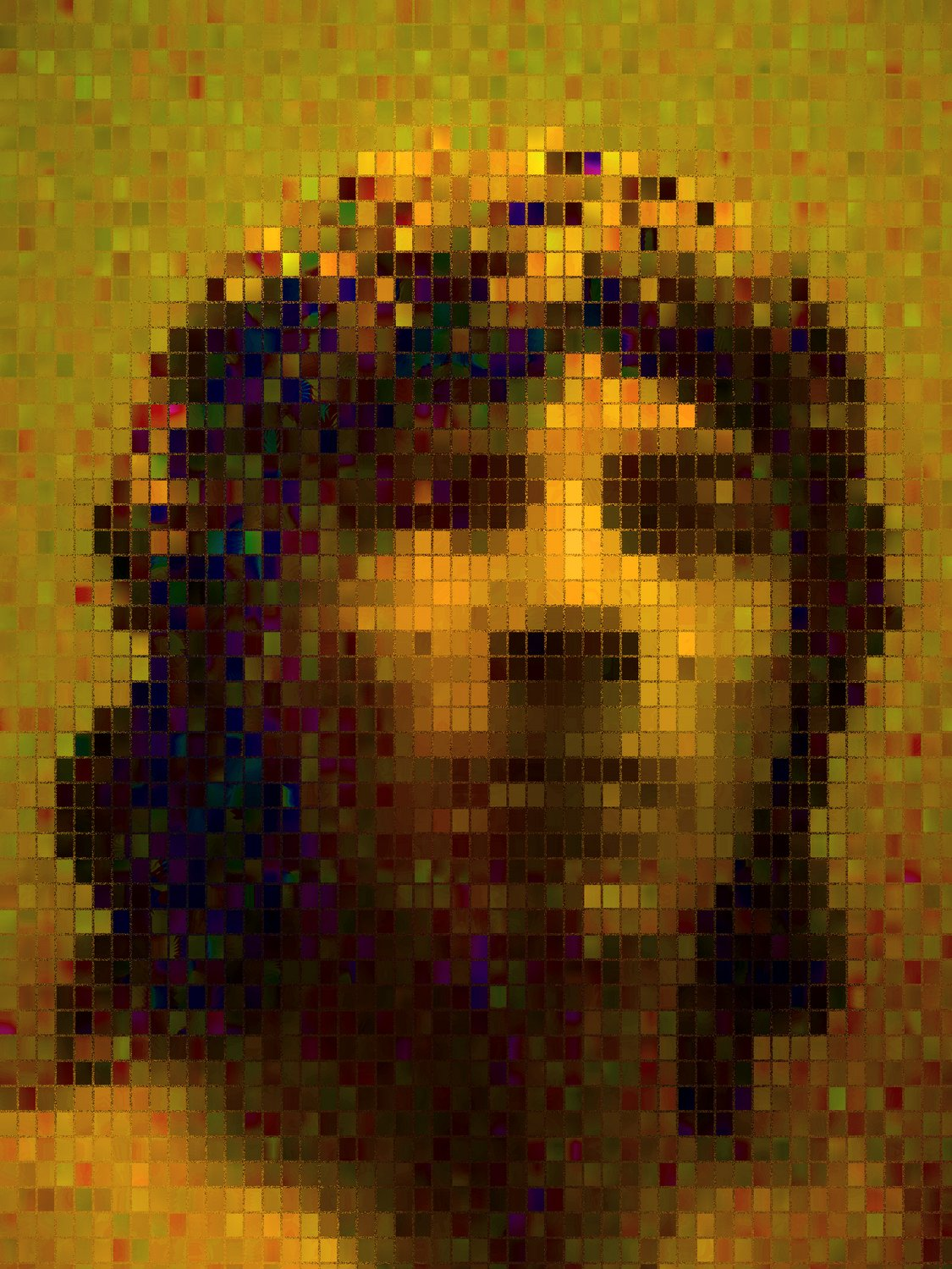 - Impressionist Mosaic - - Mosaic Man<p> I shot this with a lens made by the Arcobaleno Company. <br>   It breaks the subject into separate planes of colored blocks. - exhibit in San Francisco - - - art  - photography - by Tony Karp