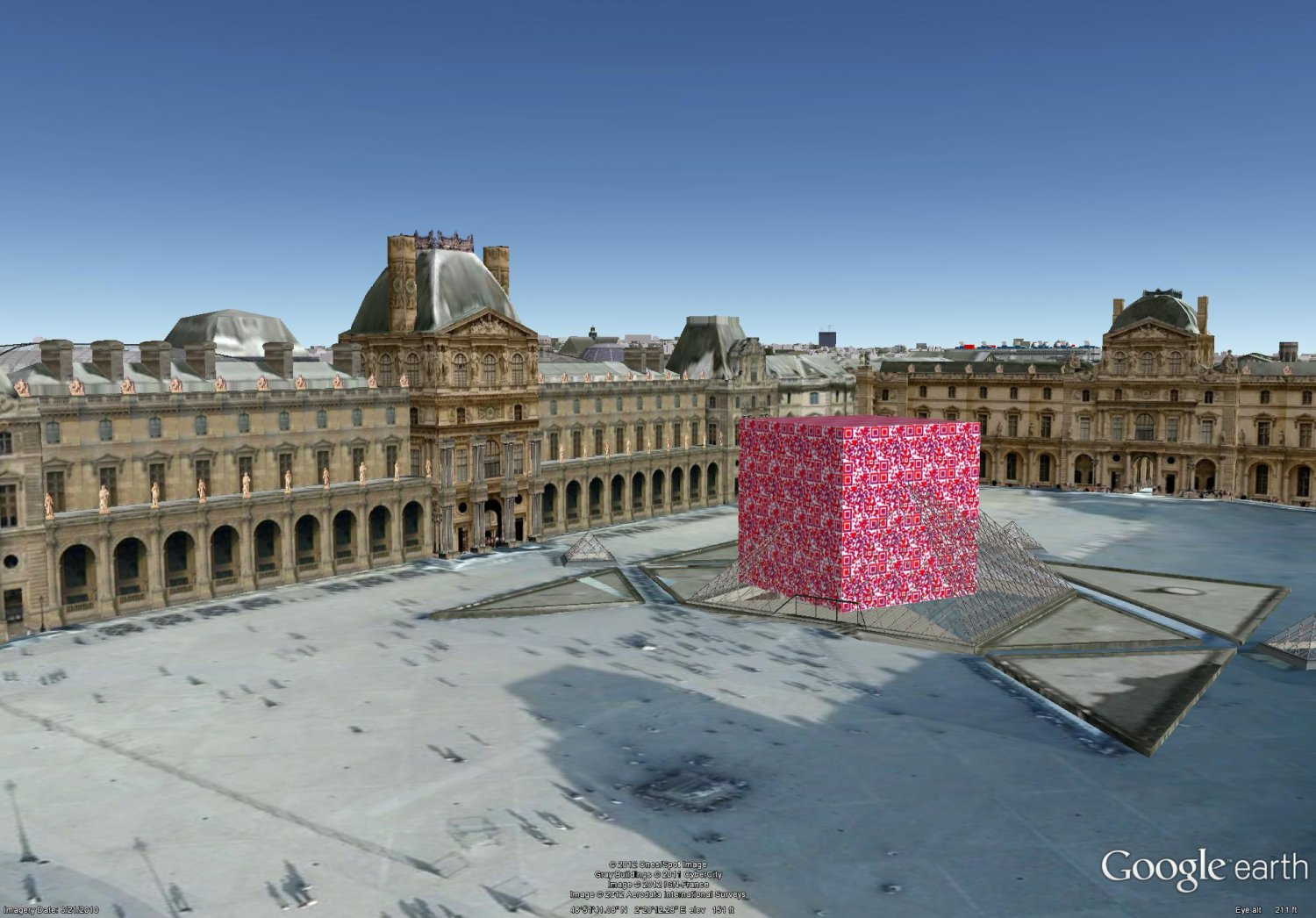 - The Borg QR cube lands before the Louvre in Paris, sitting on La Pyramide. -  - Art and the Zen of QR Codes - QaRt - making art from QR codes. - - art  - photography - by Tony Karp