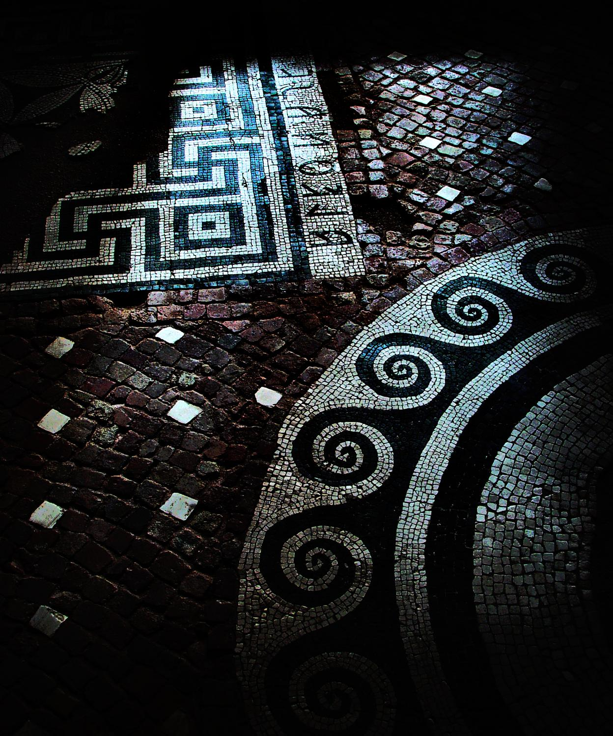 - An Etruscan mosaic floor in Viterbo. - A trip to Rome - by Tony Karp - Rome - Vatican - Gubbio - Viterbo - Spoleto - - - art  - photography - by Tony Karp