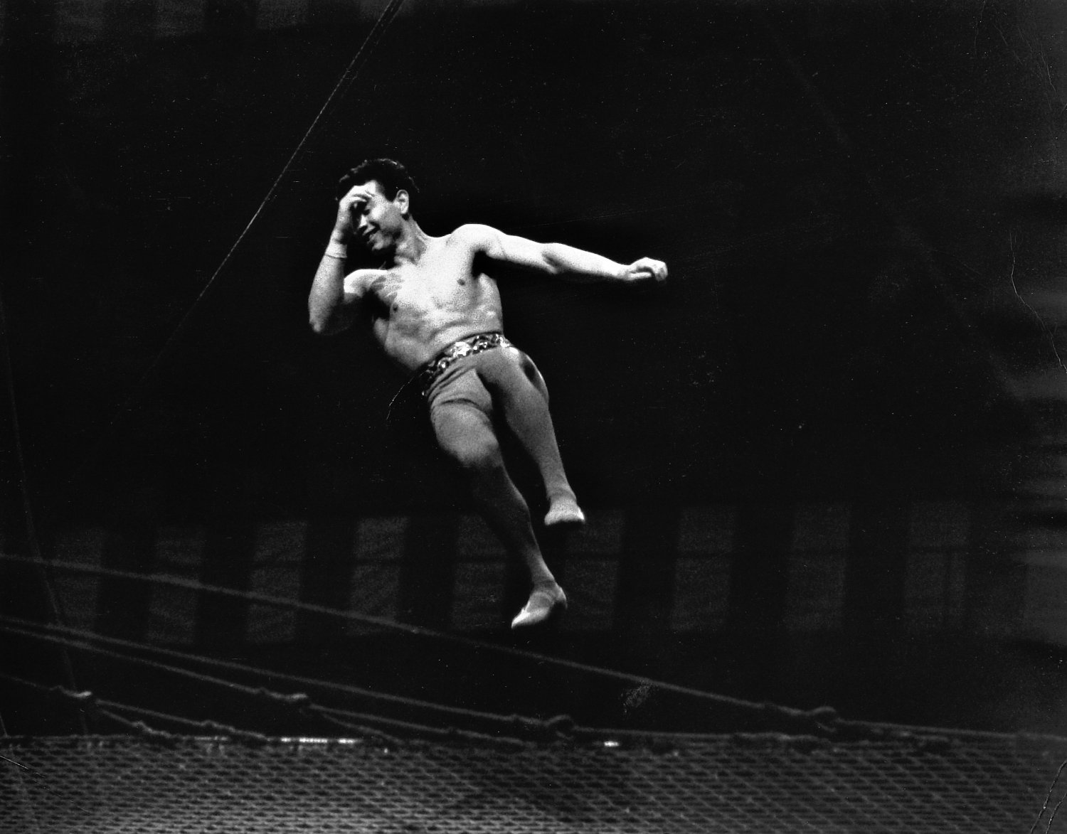 - Not to worry. I think they do this on purpose, to create a little drama and suspense. - Leo Stashin. Circus, Ringling Bros. Barnum and Bailey, Madison Square Garden, tightrope, trapeze. Alzana, black and white - - art  - photography - by Tony Karp