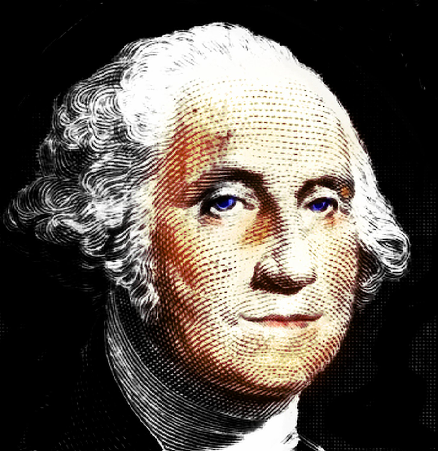 - Ole smilin' blue-eyed George, our very first president. - - George Washington - with blue eyes and his Mona Lisa smile - - art  - photography - by Tony Karp