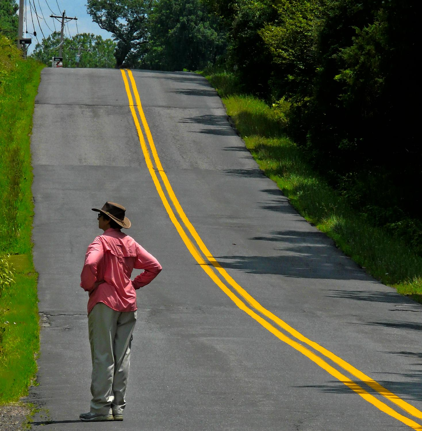 the artist's muse by a hilly road with a yellow stripe - The artist's muse contemplates the next hill on the way home. - Panasonic DMC-FZ18 - - art  - photography - by Tony Karp