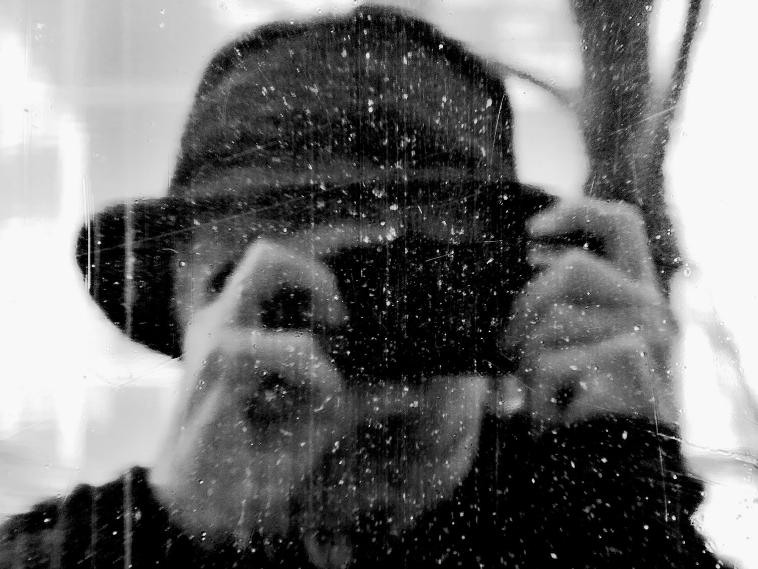 - Self portrait in a dirty old shop window. - Manassas Virginia, Panasonic DMC-ZS40 - - art  - photography - by Tony Karp