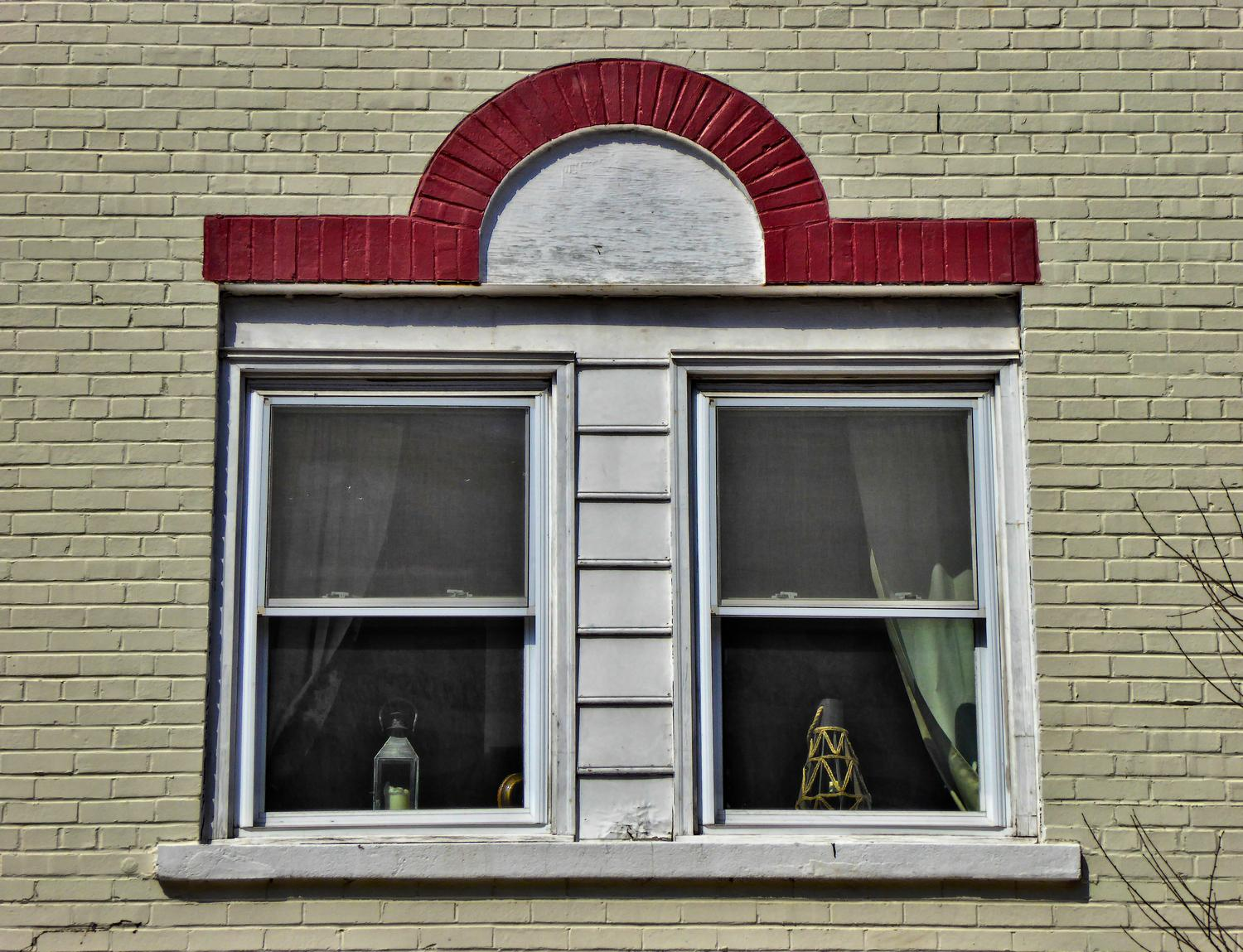- Old windows with an interesting red detail - Manassas Virginia, Panasonic DMC-ZS40 - - art  - photography - by Tony Karp