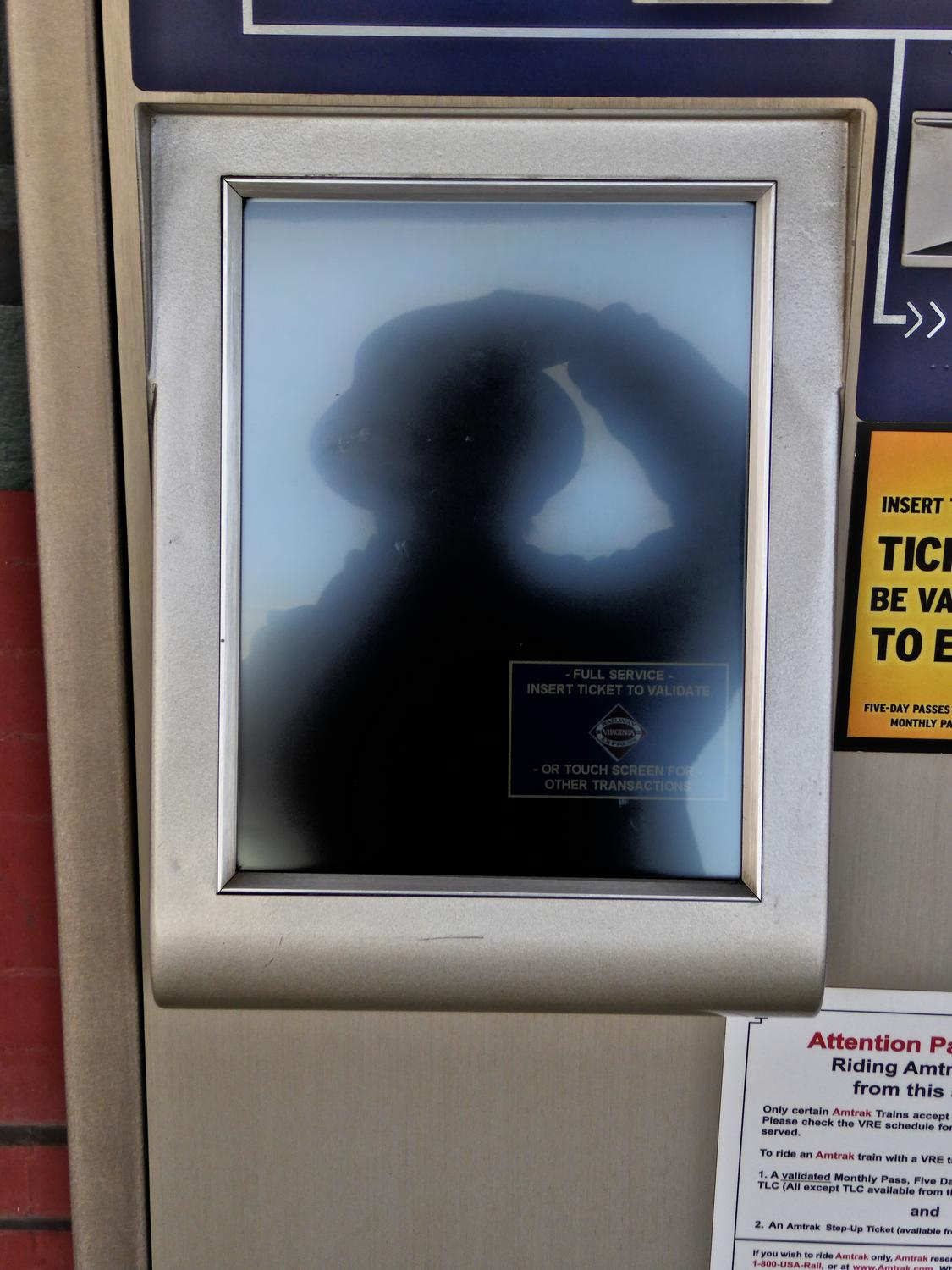- Self portrait in an Amtrak vending machine. - Manassas Virginia, Panasonic DMC-ZS40 - - art  - photography - by Tony Karp