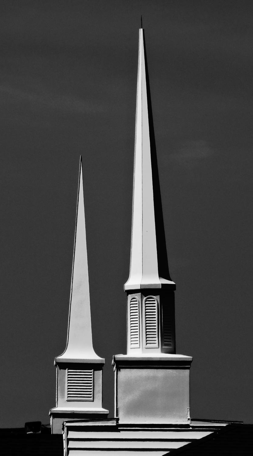 - Black and white study of two steeples. - Manassas Virginia, Panasonic DMC-ZS40 - - art  - photography - by Tony Karp